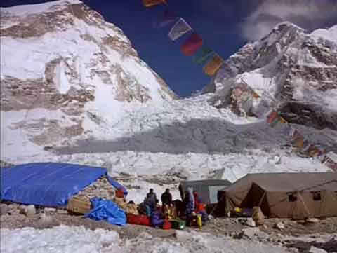 Everest Base Camp With The Icefall Behind - IMAX Everest DVD