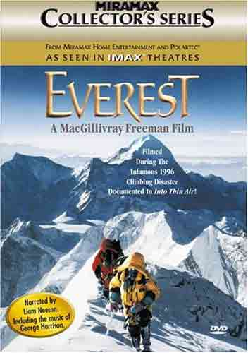 Jamling Tenzing Norgay and Araceli Segarra at 8400m on the Southeast Ridge of Mount Everest with Makalu behind - IMAX Everest DVD cover