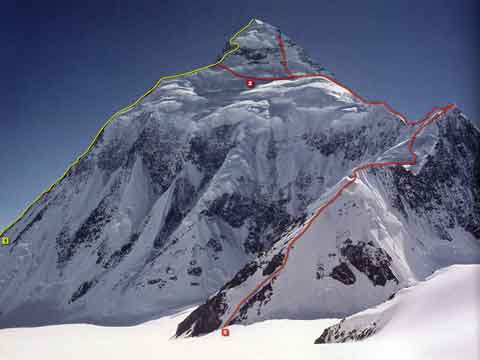 K2 showing the entire northeast route from advanced base camp to the summit - 8000 Metri Di Vita 8000 Metres To Live For book