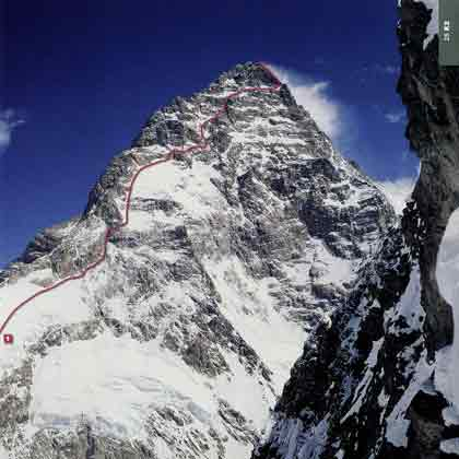 K2 West Face First Ascent Route by Japanese 1981 - 8000 Metri Di Vita 8000 Metres To Live For book