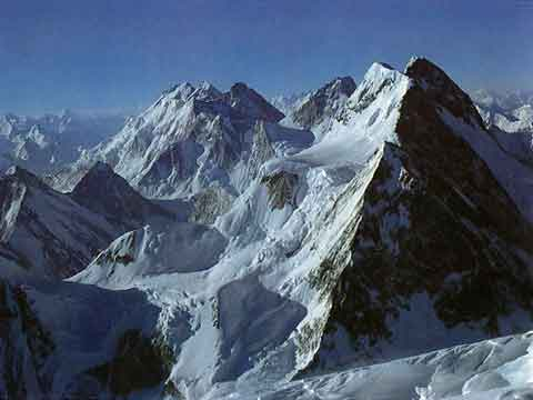 View From K2 Summit July 12, 1979 - Hidden Peak, Gasherbrums II, III, IV And the three summits of Broad Peak - K2: Mountain Of Mountains book