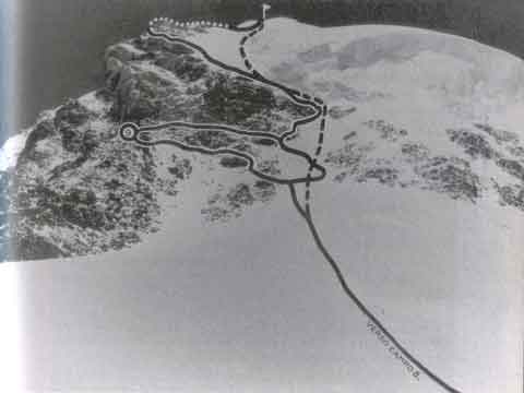 K2 summit route with the traverse to changed location of Camp IX in 1954 - K2: The Price of Conquest book