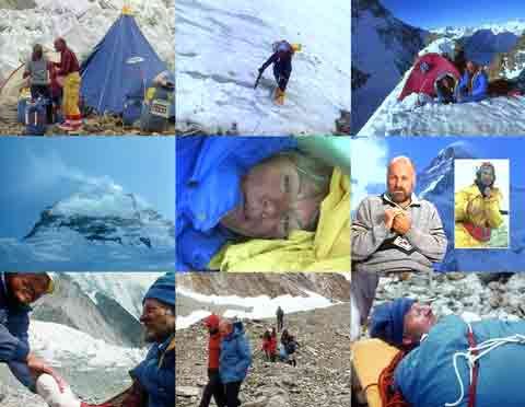 UL: Kurt Diemberger And Julie Tullis prepare to leave K2 Base Camp. RC: Julie Tullis climbing. UR: Kurt Diemberger And Julie Tullis at K2 Camp. ML: K2 Shoulder. MC: Julie Tullis In Tent. MR: Kurt Diemberger talks about the tragic events at Camp 4 and his descent. BL: Doctor looking after Kurt Diemberger's frostbitten hands. BM: Willi Bauer walks while Kurt Diemberger is carried on a stretcher to a helicopter. BR: Kurt Diemberger on a stretcher. - K2: Traum Und Schicksal DVD