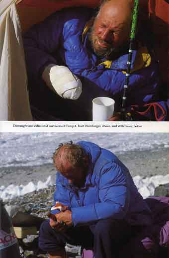 Distraught And Exhausted Survivors Of Camp 4. Top: Kurt Diemberger. Bottom: Willi Bauer - K2 Triumph and Tragedy High book