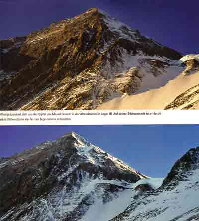 Everest Southwest Face From Camp III On Lhotse Face At Sunset And Sunrise - Mount Everest, Nanga Parbat, Dhaulagiri mit Dieter Porsche book