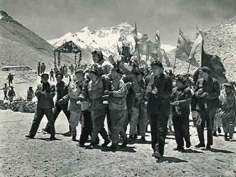 Triumphant return to Base Camp after the First Ascent of Everest North Face in 1960 - Mountaineering In China book