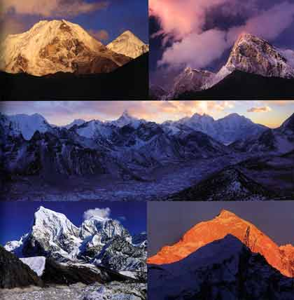 Top left: Island Peak from Dingboche. Top right: Pumori from Gorak Shep. Middle: Khumbu Glacier from Kala Pattar. Lower left: Cholatse and Taweche from Gokyo Ri. Lower Right: Makalu from Dingboche. - Nepal Kathmandu Valley, Chitwan, Annapurna, Mustang, Everest Lonely Planet Pictorial book