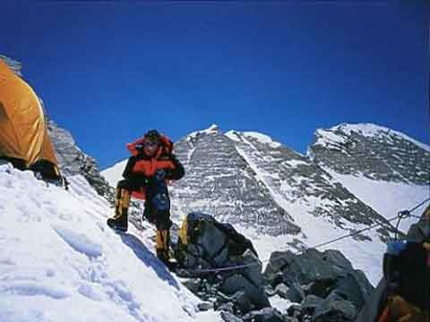 Jean-Christophe Lafaille at first bivouac on May 14, 2002 with Annapurna East and Main Summits beyond - Prisonnier de l'Annapurna book