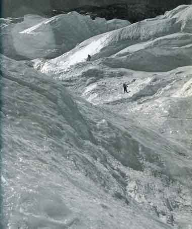 Climbers just below the Annapurna North Face Sickle ice cliff 1950 - Quest For Adventure book