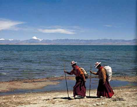 Bon momks from far eastern Tibet circumambulate Lake Manasarovar with Kailash - Sacred Landscape And Pilgrimage in Tibet book