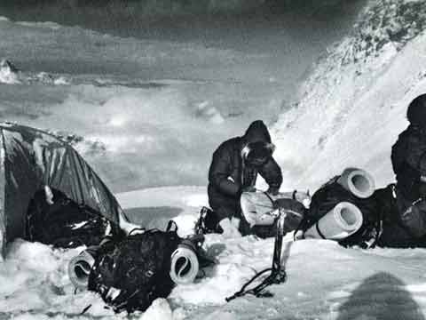 Pete Boardman and Dick Renshaw at Camp 4 On Abruzzi Shoulder 1980 - Savage Arena book