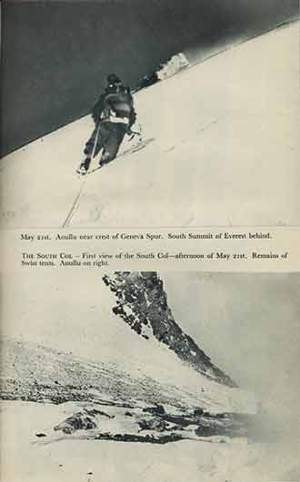 Top: Anulla near crest of Geneva Spur on May 21, 1953 with Everest South Summit behind. Bottom: First view of South Col on the afternoon of May 21, 1953 with remains of Swiss tents from 1952 attempts. - South Col book