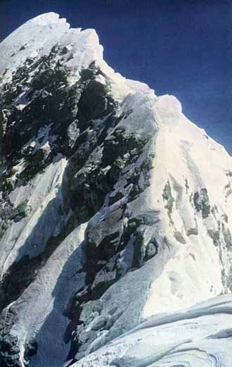 Everest First Ascent: Edmund Hillary's photo of the Everest summit ridge, including the Hillary Step, from the Everest South Summit on May 29, 1953 - The Ascent of Everest book