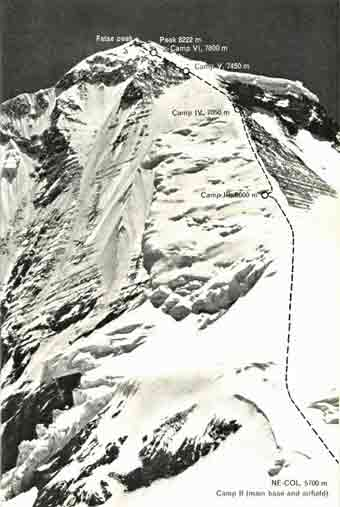 Climbing route diagram of Dhaulagiri first ascent 1960 - The Ascent Of Dhaulagiri book
