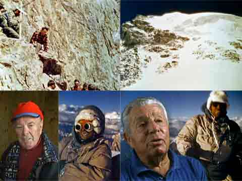 Mario Puchoz Memorial At K2 Base Camp, K2 Summit Area, Lino Lacedelli And Achille Compagnoni In 2003 And On K2 Summit July 30, 1954 - The Conquest of K2 DVD cover