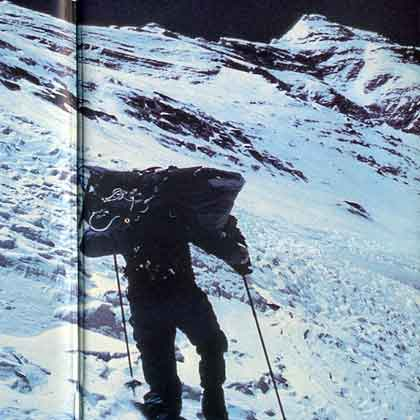 Reinhold Messner climbing Everest North Face - The Crystal Horizon book