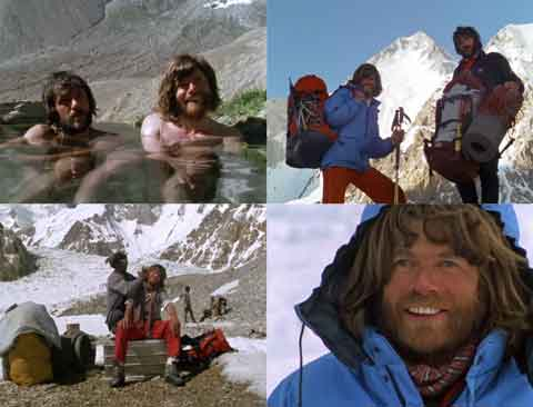 Hans Kammerlander And Reinhold Messner In Hot Springs Near Askole, Reinhold Messner And Hans Kammerlander At Base Camp With Gasherbrum I, Reinhold Messner Gets Vigorous Massage, Reinhold Messner Beig Interviewed - The Dark Glow of the Mountains DVD
