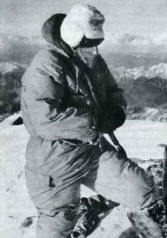 Achille Compagnoni on K2 summit July 31, 1954 still wearing his oxygen mask - The Mountains Of My Life book