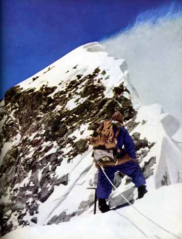 Tom Bourdillon and Charles Evans reached the Everest South Summit on May 26, 1953. Charles Evans is looking for the first time at the final ridge which leads to the top of Mount Everest. - The Picture Of Everest book