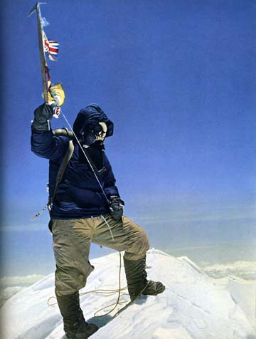 Mount Everest First Ascent. Edmund Hillary's classic photo of Tenzing Norgay on the summit of Mount Everest on May 29, 1953 - The Picture Of Everest book