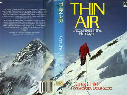 K2 looms beyond as Pete Thexton descends from the false summit of Broad Peak - Thin Air Encounters In The Himalaya book cover