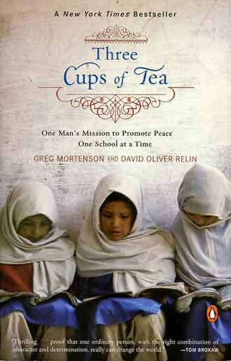 Three Girls Studying - Three Cups Of Tea book cover
