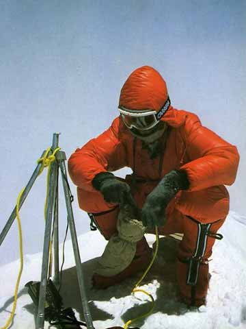 Reinhold Messner on Everest Summit after first ascent without oxygen on May 8, 1978 - To The Top Of The World (Reinhold Messner) book