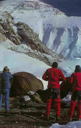 Climbers stare at Everest North Face - White Limbo book