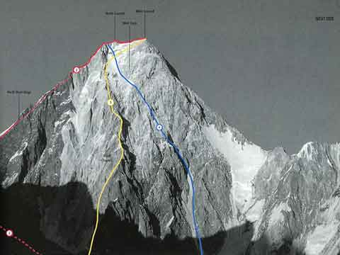 Gasherbrum IV West Face With Climbing Routes - World Mountaineering: The World's Great Mountains by the World's Great Mountaineers book