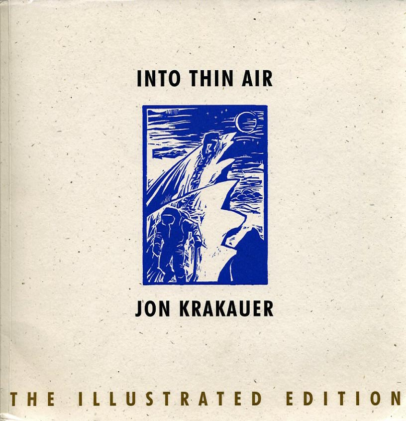 my favourite mountaineering books into thin air illustrated edition jon krakauer book cover