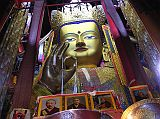 The most impressive Tashilhunpo sight is the Maitreya Chapel, a tall red building with a gold roof at the complex's northwestern corner, built in 1914 by the ninth Panchen Lama. It houses a 26.2m image of Maitreya, the Future Buddha, whose ears are 2.6m long and each finger 1.2m. The statue contains 279kg of gold and 150,000kg of copper and brass molded on a wooden frame.