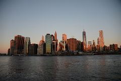 Sunrise On New York Financial District Skyline From Brooklyn Heights