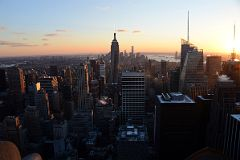 New York City Top Of The Rock South Midtown To Empire State Building To Financial District, Bank of America Tower Just Before Sunset