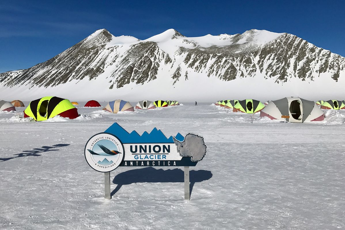 02A ALE Union Glacier Antarctica Sign And Very Comfortable Clam Tents With Mount Rossmann Beyond  sc 1 st  Mountains Of Travel Photos & 02A ALE Union Glacier Antarctica Sign And Very Comfortable Clam ...